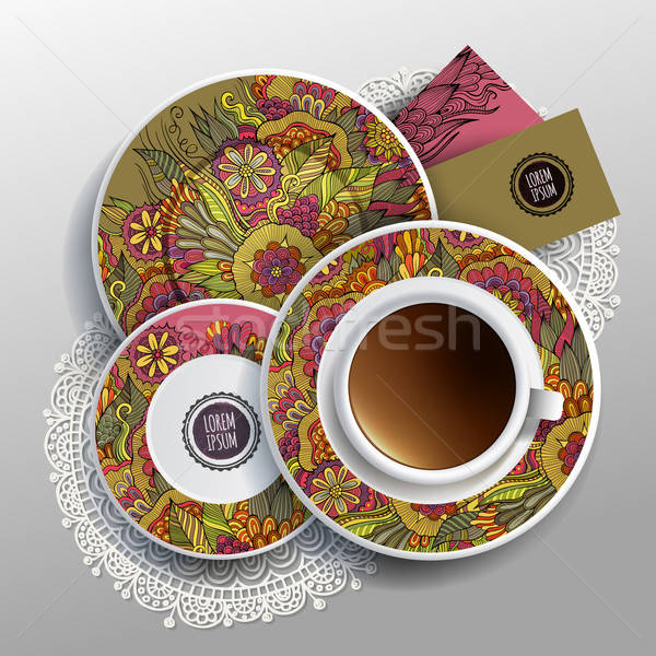 Vector Cup of coffee, business cards Stock photo © balabolka