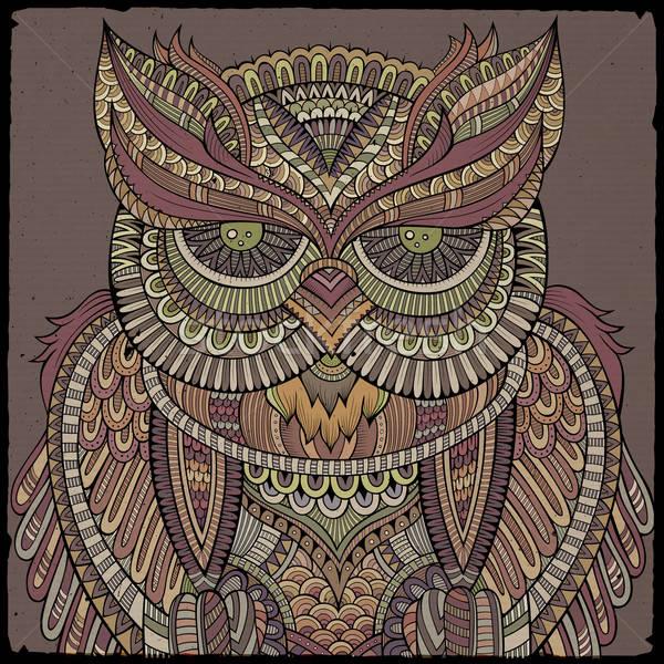декоративный декоративный совы аннотация голову глазах Сток-фото © balabolka
