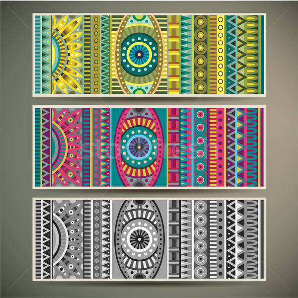 Abstract vector tribal ethnic background set. Stock photo © balabolka