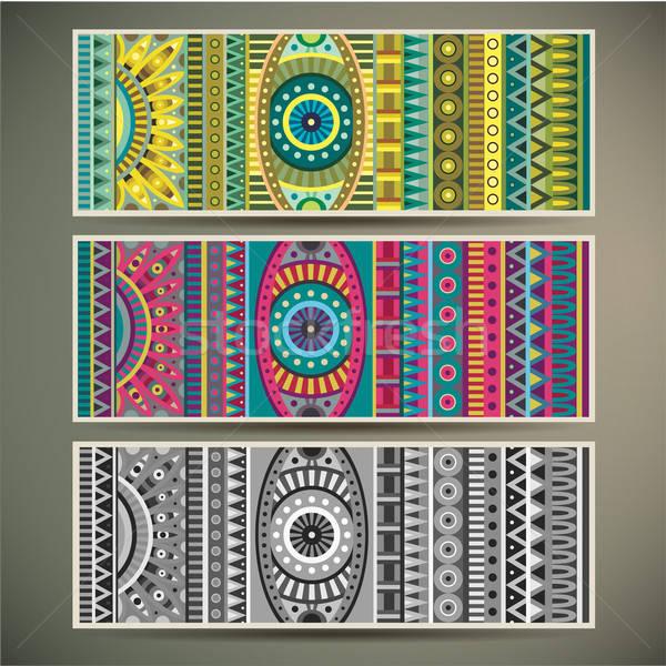 Streszczenie wektora plemiennych etnicznych zestaw trzy Zdjęcia stock © balabolka