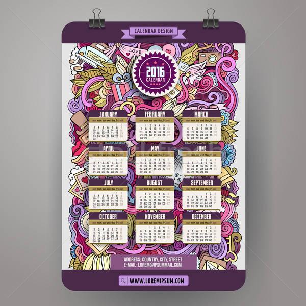 Kleurrijk cartoon bruiloft kalender Stockfoto © balabolka