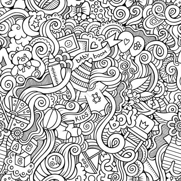 Cartoon vector doodle children seamless pattern Stock photo © balabolka