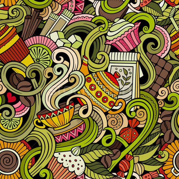 Cartoon hand-drawn doodles of cafe, coffee shop seamless pattern Stock photo © balabolka