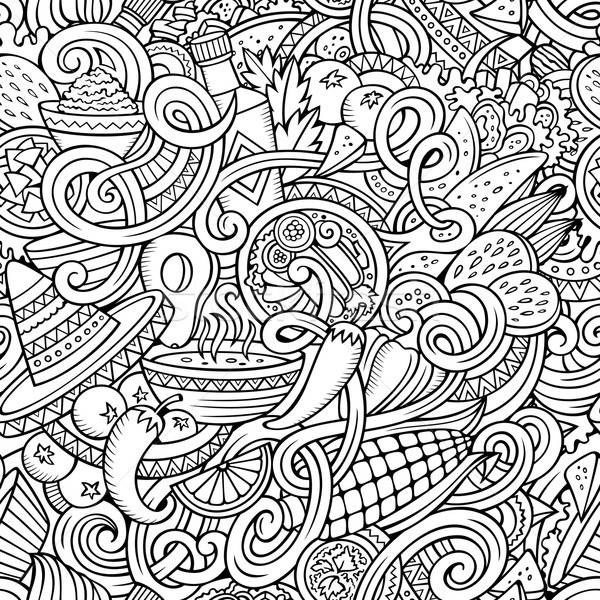 Stock fotó: Rajz · mexikói · étel · firkák · végtelen · minta · vonal · művészet