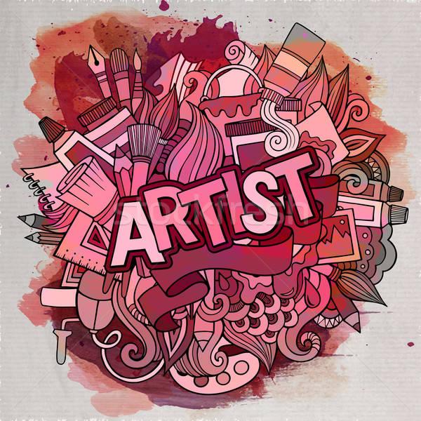 Cartoon vector doodle kunstenaar illustratie Stockfoto © balabolka