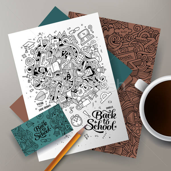 Cartoon doodles Back to school corporate identity set Stock photo © balabolka