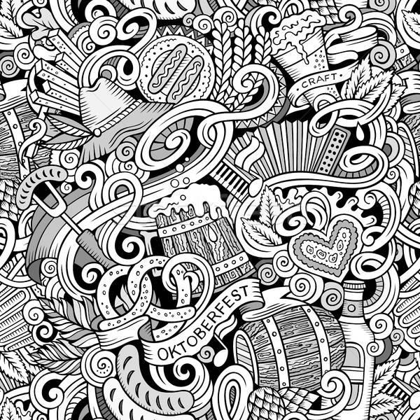 Cartoon cute doodles hand drawn Octoberfest seamless pattern Stock photo © balabolka