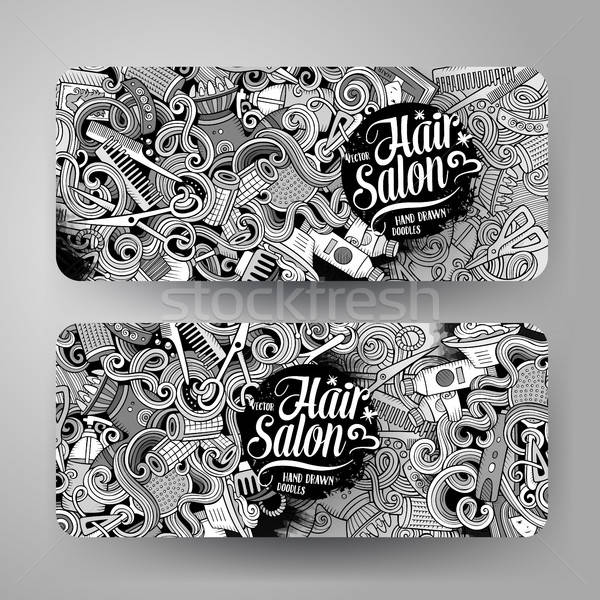 Cartoon vector kapsalon banners cute Stockfoto © balabolka