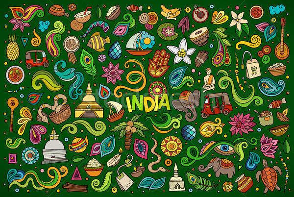 Vector doodle cartoon set of Indian objects and symbols Stock photo © balabolka