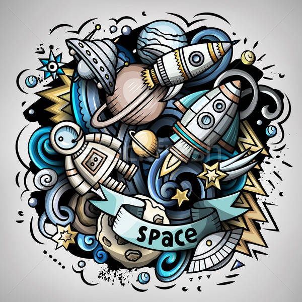 Stock photo: Cartoon vector doodles Space illustration