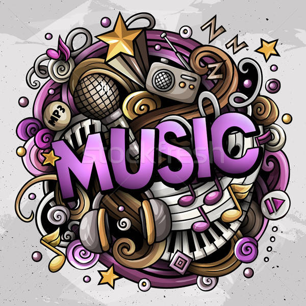 Cartoon cute doodles Music word. Colorful illustration Stock photo © balabolka