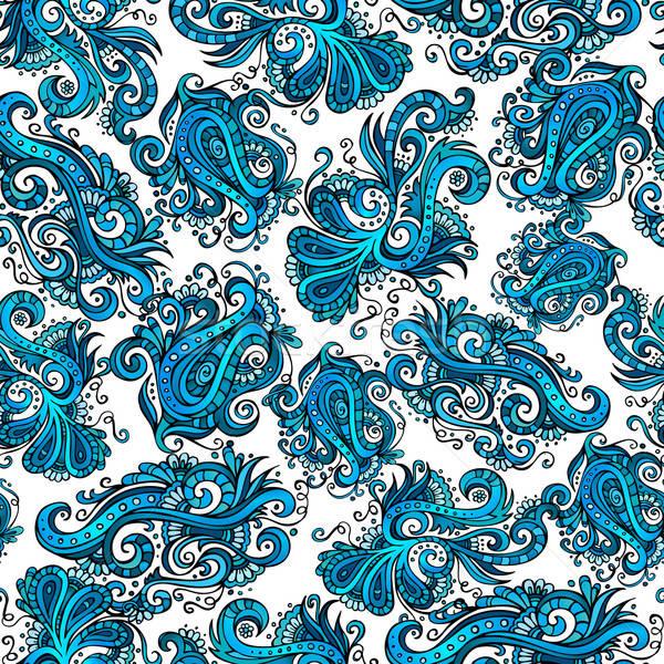декоративный вектора синий цветок декоративный шаблон аннотация Сток-фото © balabolka