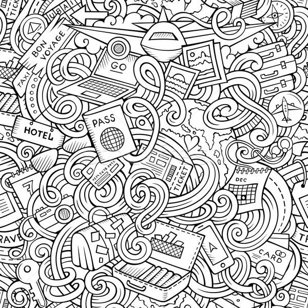 Cartoon doodles travel planning seamless pattern Stock photo © balabolka