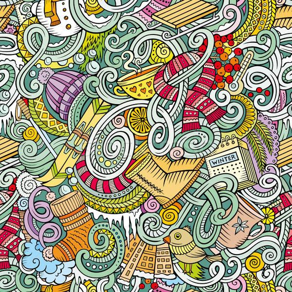 Cartoon зимний сезон Cute красочный Сток-фото © balabolka