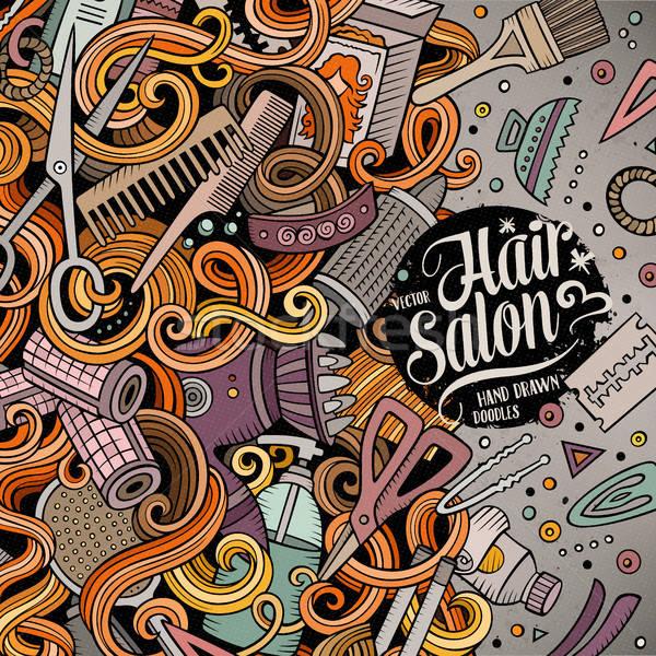 Cartoon cute scarabocchi parrucchiere frame design Foto d'archivio © balabolka
