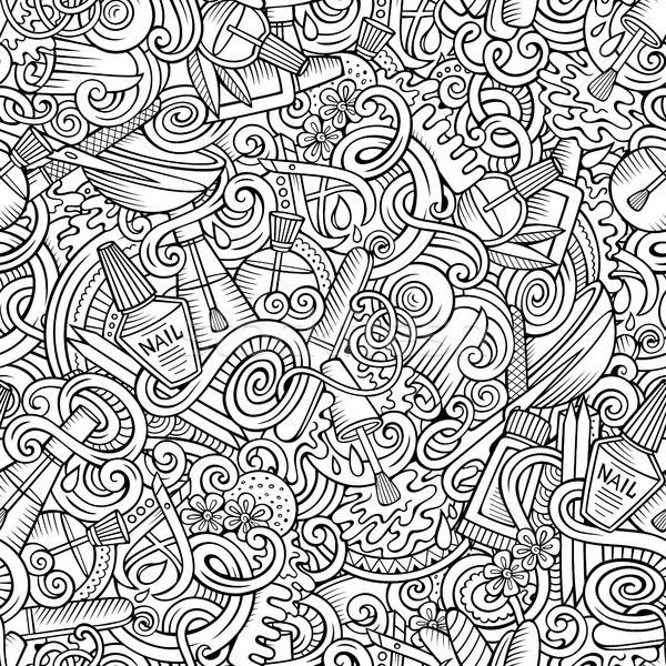 Cartoon doodles Manicure seamless pattern Stock photo © balabolka