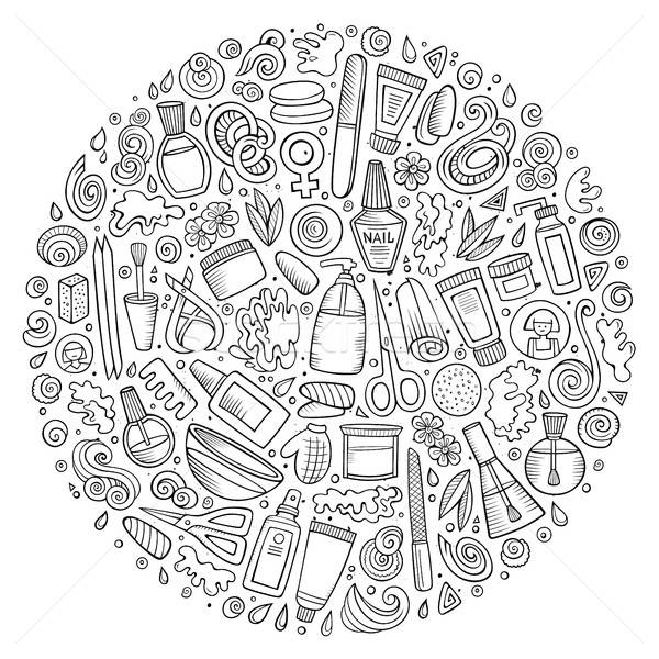 Vector set of Manicure cartoon doodle objects Stock photo © balabolka
