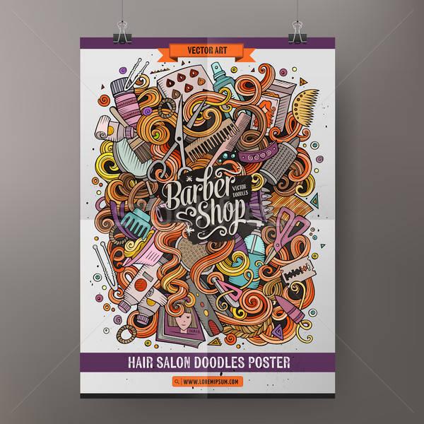 Cartoon scarabocchi parrucchiere poster colorato Foto d'archivio © balabolka