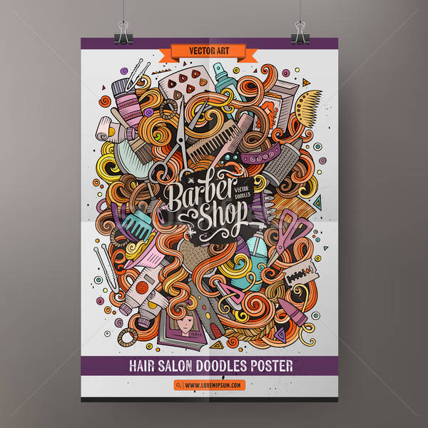 Karikatür karalamalar kuaför poster renkli Stok fotoğraf © balabolka
