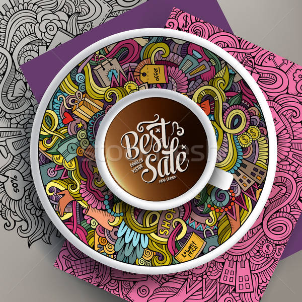 Vector up of coffee and Sale doodles on a saucer, paper and background Stock photo © balabolka