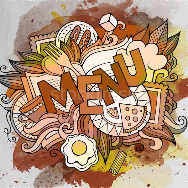 Cartoon cute menu opschrift Stockfoto © balabolka