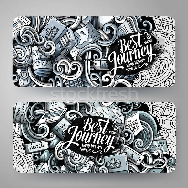Cartoon graphics vector hand drawn doodles Travel banners design. Stock photo © balabolka