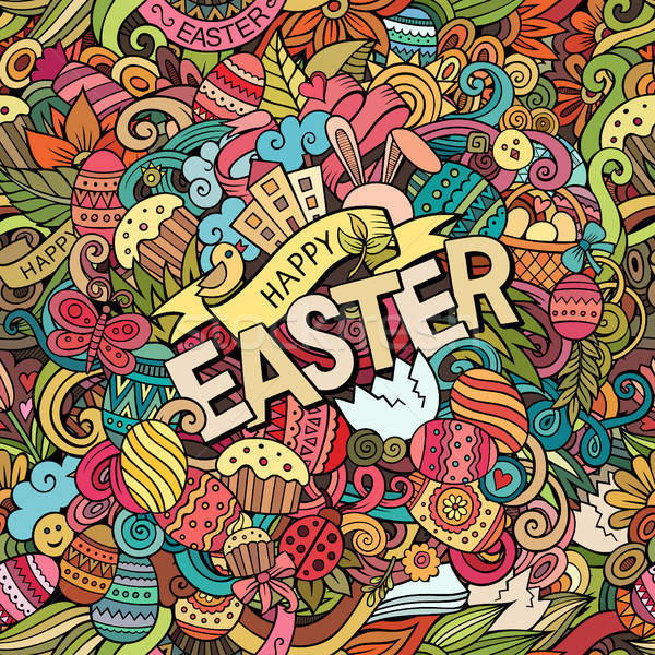 Cartoon joyeuses pâques coloré détaillée objets Photo stock © balabolka