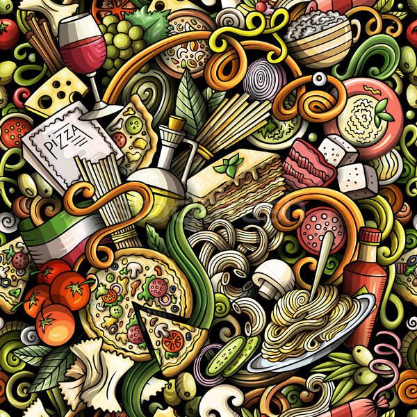 Karikatür sevimli karalamalar İtalyan gıda Stok fotoğraf © balabolka