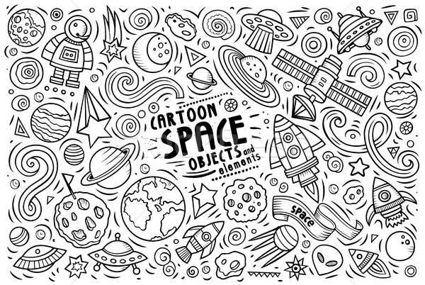 Doodle cartoon set of SPACE theme objects and symbols Stock photo © balabolka