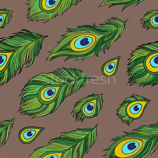 Cartoon ethnic vector Feathers seamless pattern Stock photo © balabolka