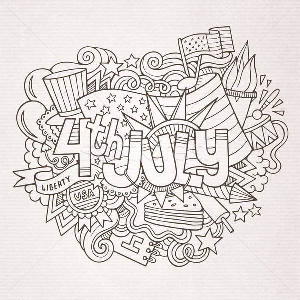 4th July Independence Day hand lettering and doodles elements Stock photo © balabolka