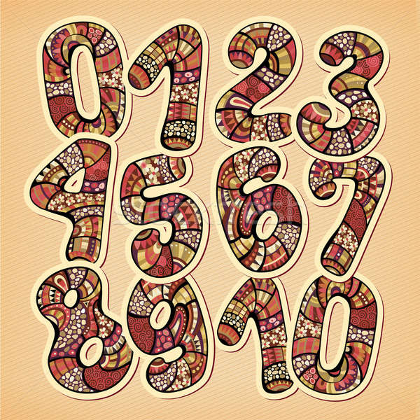 Decorative doodles hand drawn vintage floral style numbers Stock photo © balabolka