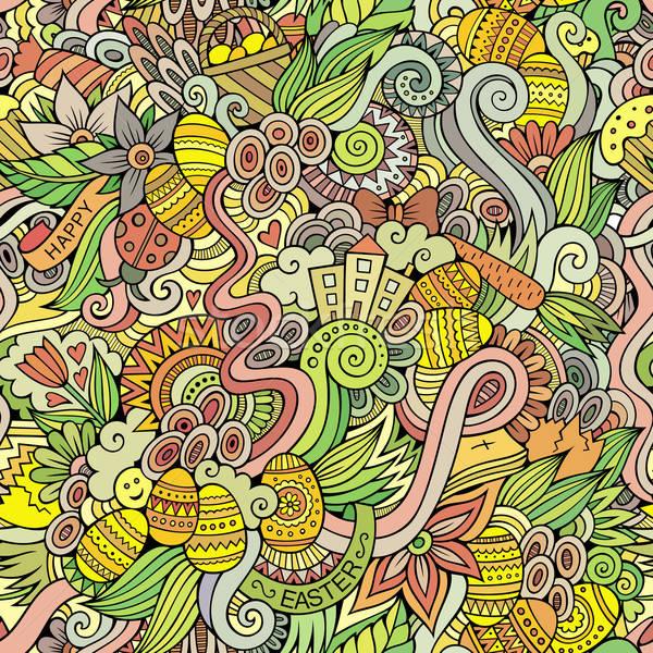 復活節 塗鴉 向量 手工繪製 花 商業照片 © balabolka