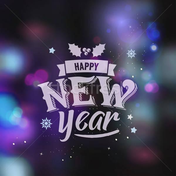 Stok fotoğraf: Happy · new · year · yaratıcı · grafik · mesaj · kış · dizayn