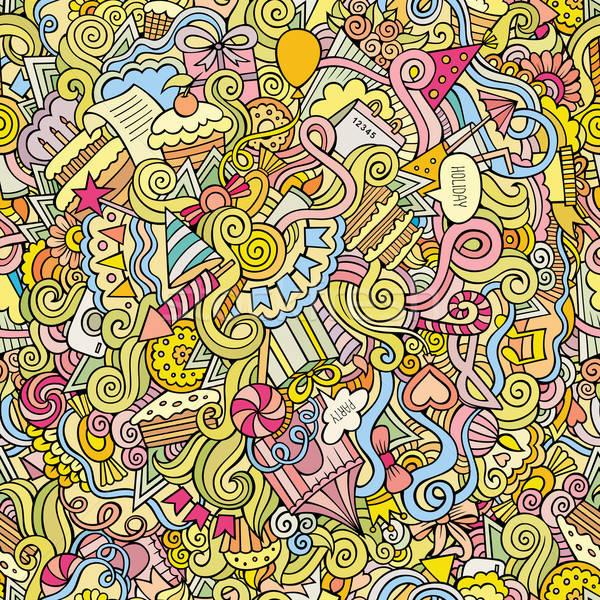 Stock fotó: Firkák · kézzel · rajzolt · ünnep · végtelen · minta · rajz · vektor