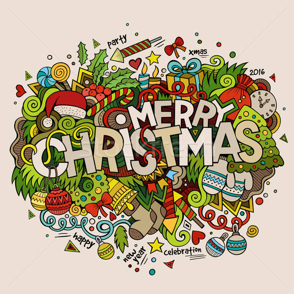 Merry Christmas hand lettering and doodles elements background.  Stock photo © balabolka