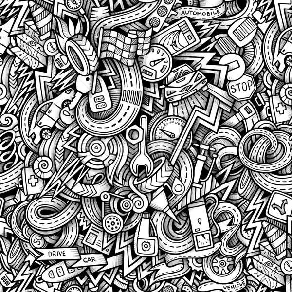 Rajz firkák autó stílus végtelenített végtelen minta Stock fotó © balabolka