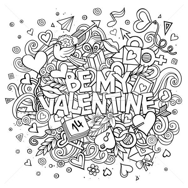 Cartoon vector hand drawn Doodle Be My Valentine Stock photo © balabolka