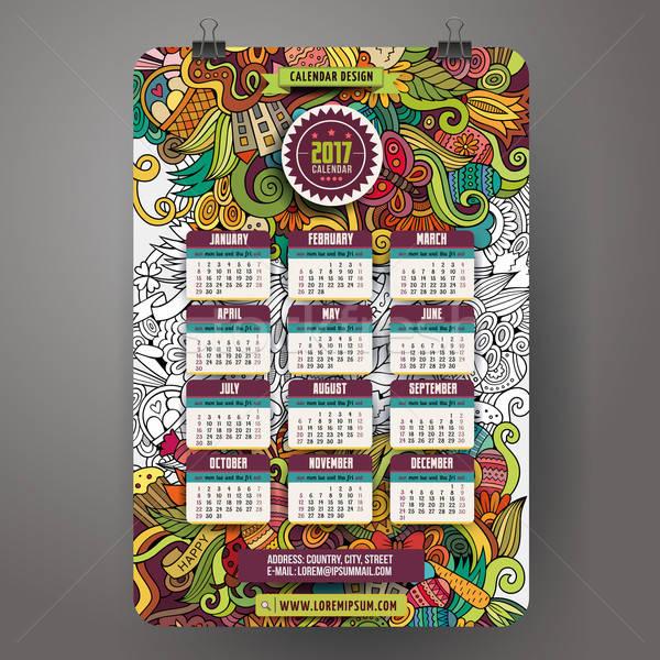 塗鴉 漫畫 復活節 日曆 年 設計 商業照片 © balabolka
