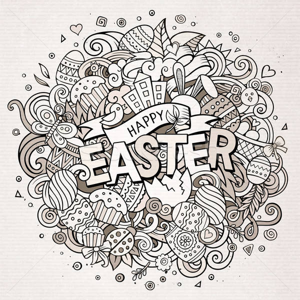 Cartoon vector hand drawn Doodle Happy Easter illustration Stock photo © balabolka