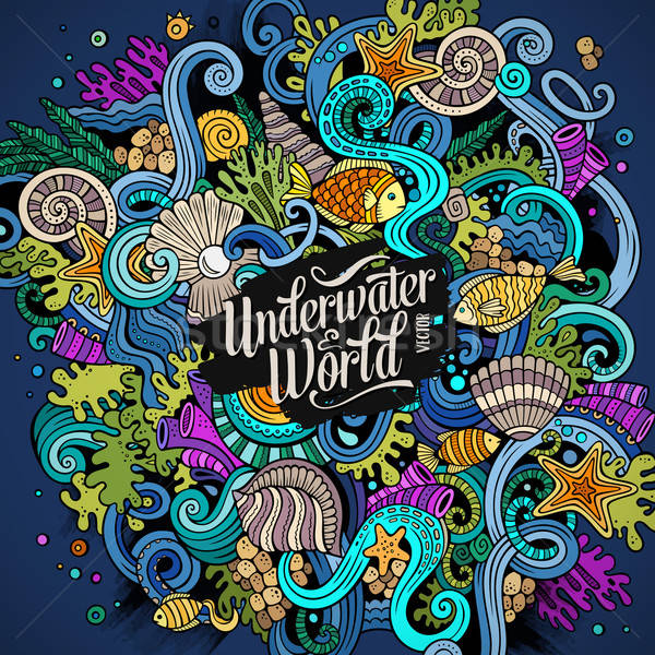 Cartoon hand-drawn doodles Underwater life illustration Stock photo © balabolka