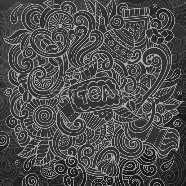 Stockfoto: Cartoon · cafe · coffeeshop · illustratie · krijt