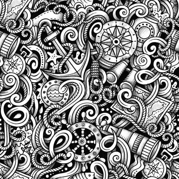 Cartoon hand drawn nautical doodles seamless pattern. Detailed g Stock photo © balabolka
