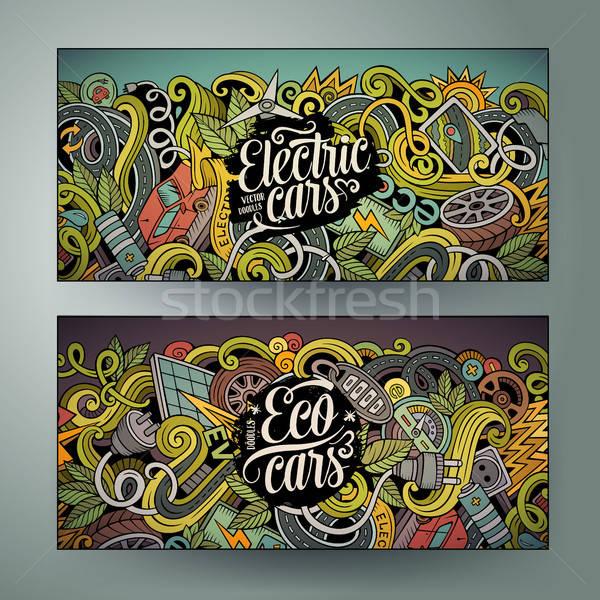 Foto stock: Cartoon · garabatos · eléctrica · coches · banners · cute