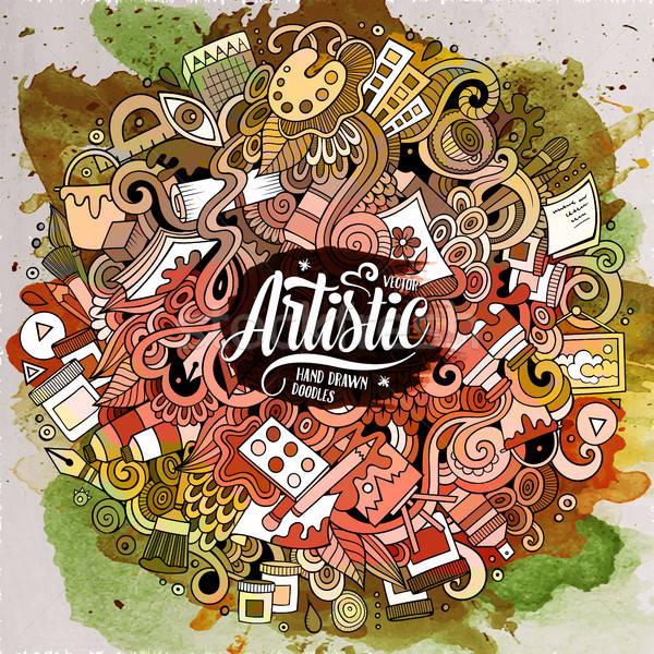 Rajz aranyos firkák kézzel rajzolt művészi illusztráció Stock fotó © balabolka