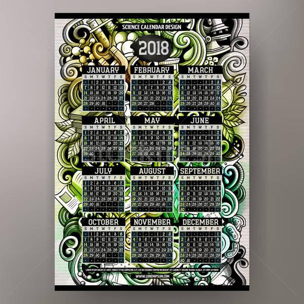 Cartoon colorful hand drawn doodles Science 2018 year calendar Stock photo © balabolka