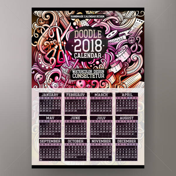 Cartoon colorful hand drawn doodles Handmade 2018 year calendar Stock photo © balabolka