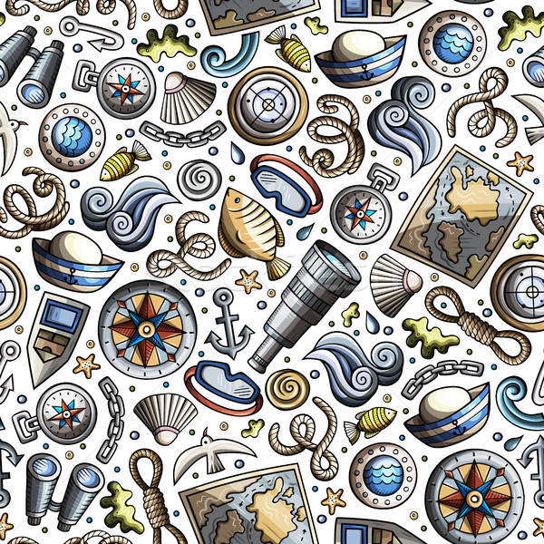 Cartoon nautical seamless pattern Stock photo © balabolka