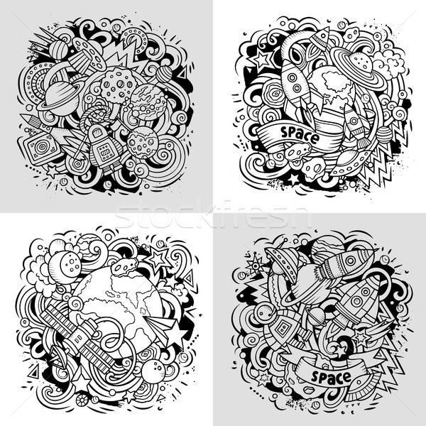 Space cartoon vector doodle illustration Stock photo © balabolka