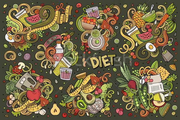 Foto stock: Vetor · desenho · animado · conjunto · dieta · comida